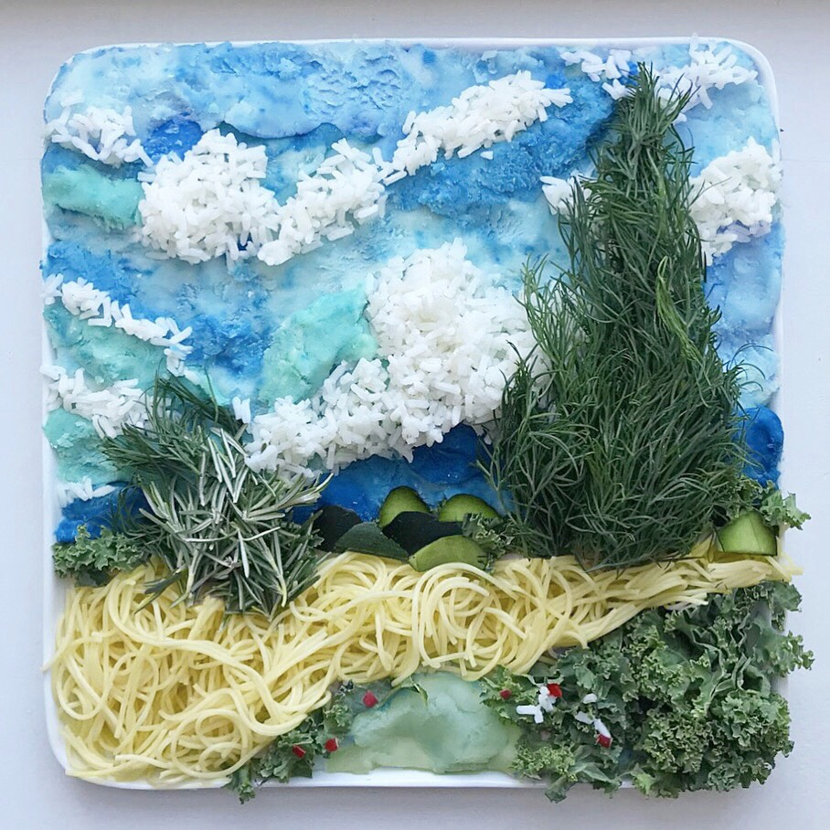 Harley Food Art Van Gogh's Wheat fields with cypresses""